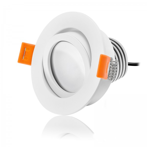 LED Einbaustrahler Set von LEDOX - dimmbar inkl. Einbaurahmen weiß | 230V 10W COB LED 50mm EXTRA FLACH