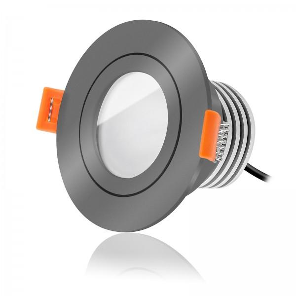 Ledox LED Bad Einbaustrahler Set IP44 dimmbar inkl. Forma RA Einbaurahmen anthrazit 230V 10W Modul