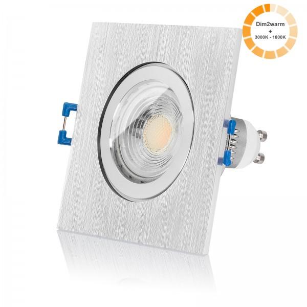 LED Bad Einbaustrahler Set IP44 dimmbare Farbtemperatur 1800K-3000K inkl. Bicolor Einbaurahmen 230V 7W GU10 dimtowarm