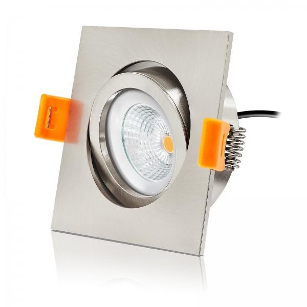 LED Einbauleuchten Set von LEDOX - dimmbar inkl. Einbaurahmen Eisen gebürstet | 230V 6W EXTRA FLACH Deckenleuchten Spot Deckenstrahler Einbaustrahler LED Strahler Deckenspots Downlight | LED Leuchtmittel