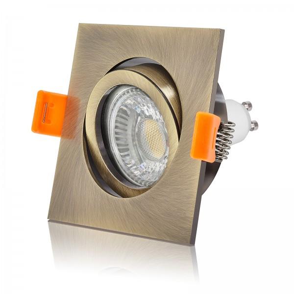 LED Einbaustrahler Set dimmbar & schwenkbar inkl. Premium Einbaurahmen forma bronze 230V 6W GU10 2700K