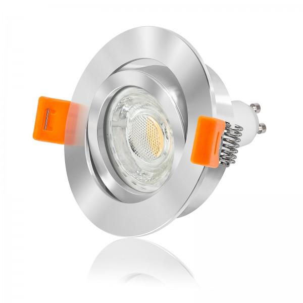 LED Einbaustrahler Set dimmbar & schwenkbar inkl. Premium Einbaurahmen Forma RC chrom 230V 10W GU10 3000k