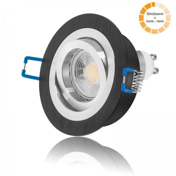 LED Einbaustrahler Set mit dimmbarer Farbtemperatur 1800K-3000K inkl. Bicolor Einbaurahmen 230V 7W GU10