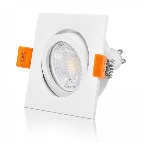 FORMA EW LED Einbaustrahler Set dimmbar & schwenkbar inkl. Einbaurahmen eckig quadratisch weiß 230V 7W GU10 mit Ra>93