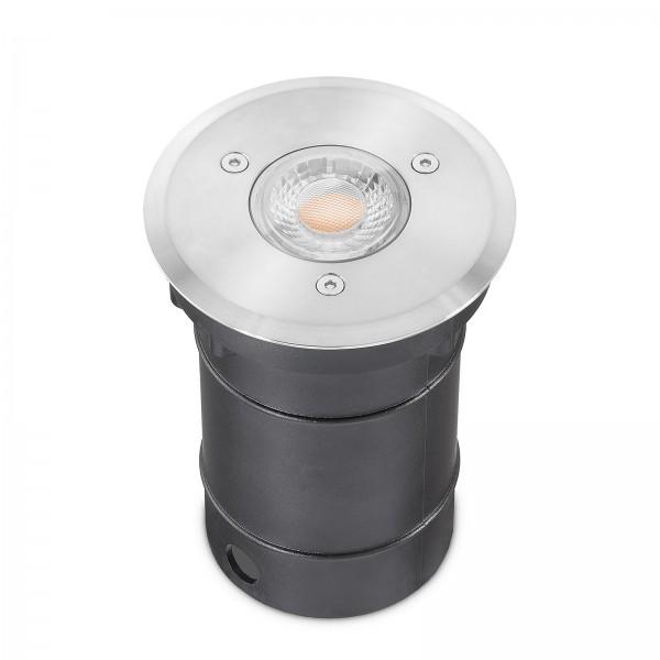 LED Bodeneinbaustrahler Set IP67 dimmbar Blende Edelstahl 230V 7W GU10 3000k warmweiß - 50W Ersatz