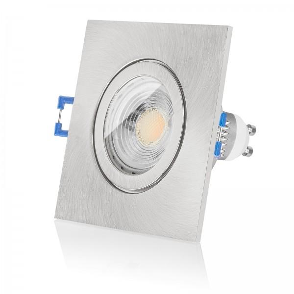 LED Bad Einbaustrahler Set IP44 dimmbare Farbtemperatur 1800K-3000K inkl. Einbaurahmen eckig gebürstet 230V 7W GU10 dimtowarm