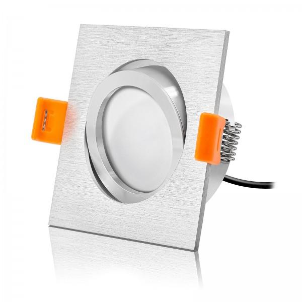 LED Einbaustrahler Set dimmbar & schwenkbar inkl. Premium Einbaurahmen Forma gebürstet 230V 6W Modul inkl. Trafo 2700K warmweiß