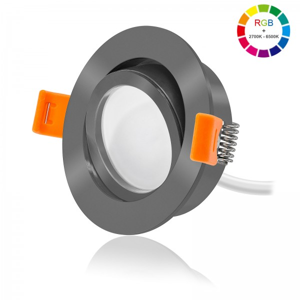 FORMA RA LED Einbaustrahler Set dimmbar & schwenkbar inkl. Einbaurahmen anthrazit 230V 11W Modul RGB WWW alle Farben