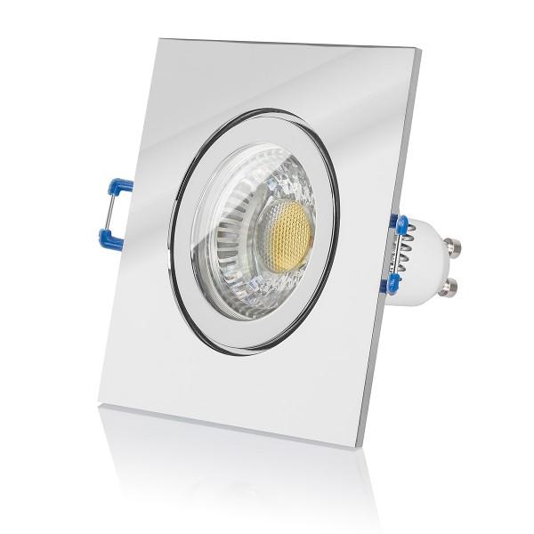 LED Bad Einbaustrahler Set IP44 dimmbar inkl. Einbaurahmen chrom 230V 6W GU10 2700k Ra>90