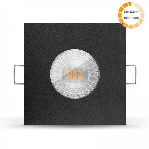 LED Bad Einbaustrahler Set IP65 dimmbare steuerbare Farbtemperatur 1800K-3000K Einbaurahmen schwarz 230V 7W