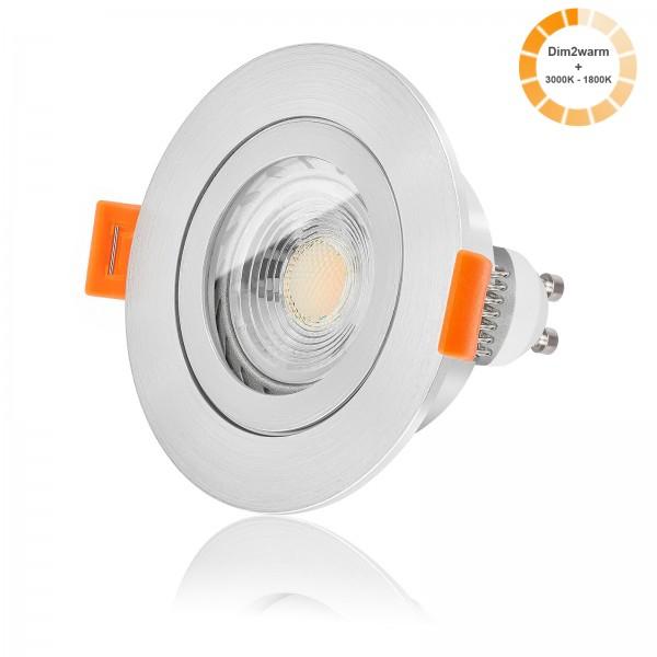 LED Bad Einbaustrahler Set IP44 dimmbare Farbtemperatur 1800K-3000K inkl. Forma RM Einbaurahmen gebürstet 230V 7W GU10 warmweiß