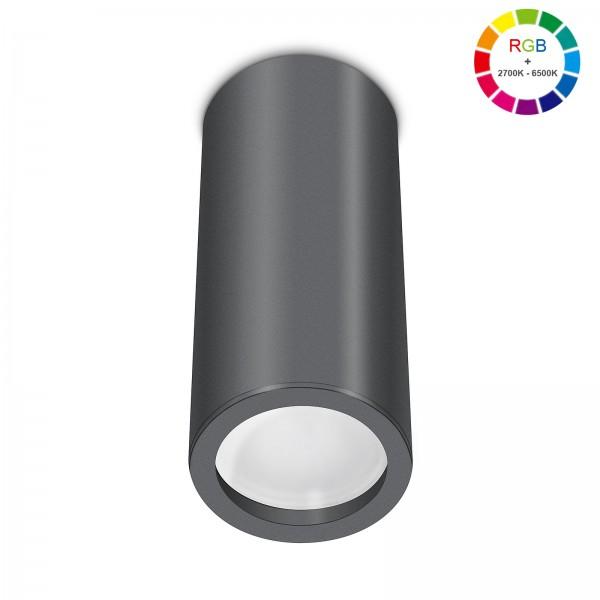 Smart Home Tube Pure LED Aufbauleuchte anthrazit 17cm 230V 5W RGB + 6W 2700K - 6500K mit Ra>90