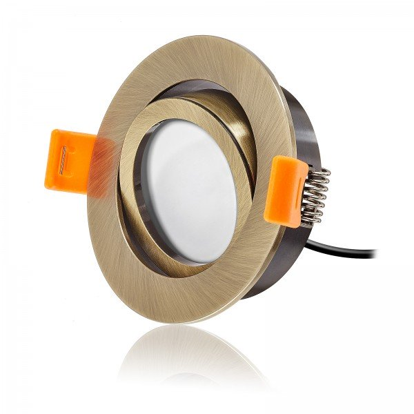 LED Einbaustrahler Set dimmbar & schwenkbar inkl. Premium Einbaurahmen Forma Bronze gebürstet 230V 6W Modul inkl. Trafo 2700K warmweiß