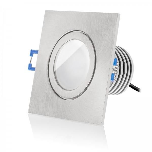Led Bad Einbaustrahler Set IP44 dimmbar inkl. Einbaurahmen eckig eisen gebürstet 230V 10W Modul