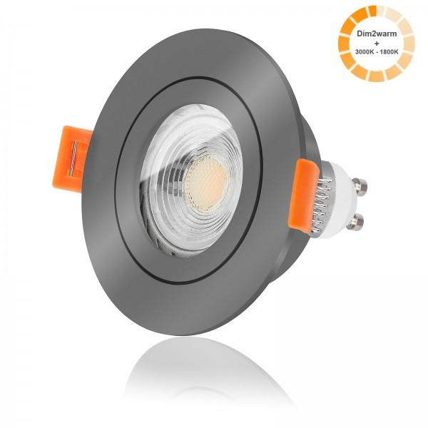 LED Bad Einbaustrahler Set IP44 dimmbare Farbtemperatur 1800K-3000K inkl. Forma Aqua RA Einbaurahmen 230V 7W GU10 dimtowarm