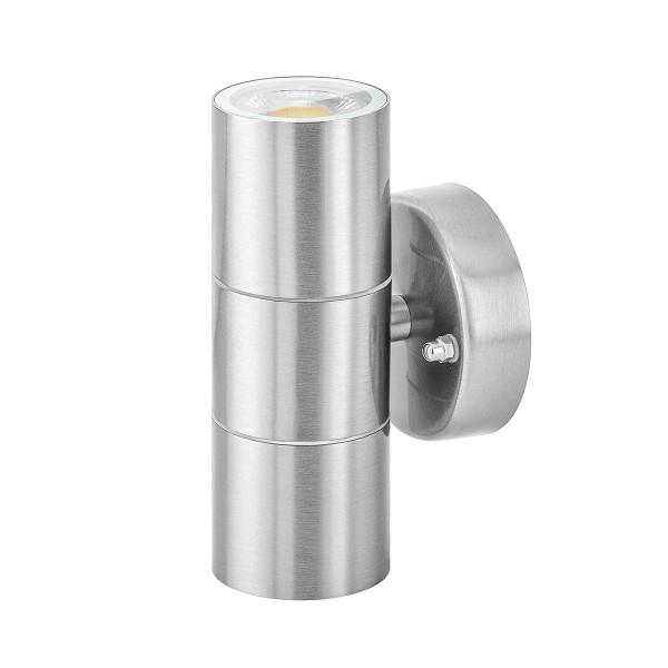 Led Außenlampe Up Down Set Ip44 In Edelstahl Inkl Leuchtmittel 230v 10w Gu10 Warmweiß 2 X 5w