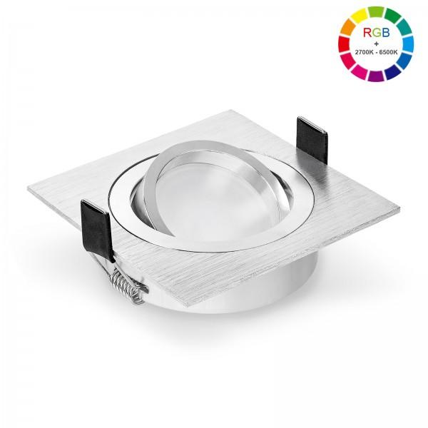 Ledox Led Einbaustrahler Set dimmbar & schwenkbar inkl. Einbaurahmen Bicolor eckig gebürstet und Led Leuchtmittel Modul RGB + 2700k - 6500K