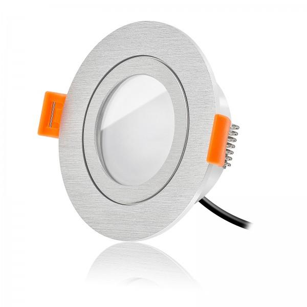 LED Badeinbaustrahler Set IP44 dimmbar inkl. Forma R Einbaurahmen gebürstet 230V 7W Modul warmweiß