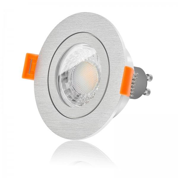 LED Badeinbaustrahler Set IP44 dimmbar inkl. Forma R Einbaurahmen gebürstet 230V 7W GU10 3000k warmweiß
