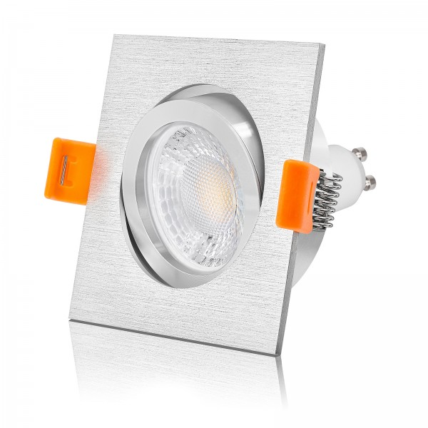 LED Einbaustrahler Set dimmbar & schwenkbar inkl. Premium Einbaurahmen forma E eckig 230V 7W GU10 Alle Farben erhältlich!