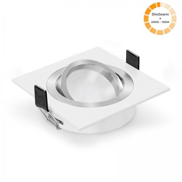 LED Einbaustrahler Set dimmbare steuerbare Farbtemperatur 1800K-3000K & Einbaurahmen 230V 7W Modul dim2warm