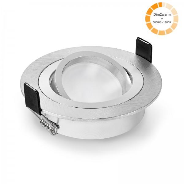 LED Einbaustrahler Set dimmbare steuerbare Farbtemperatur 1800K-3000K & Einbaurahmen gebürstet rund 230V 7W Modul dim2warm