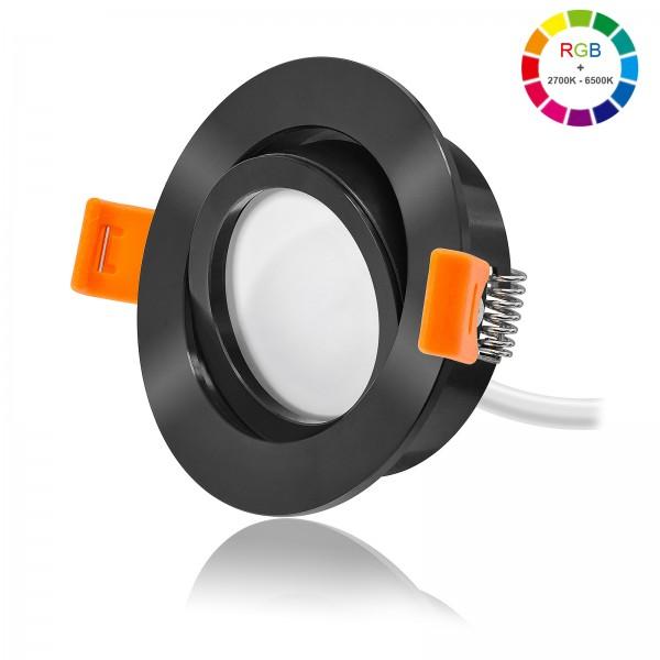 LED Einbaustrahler Set dimmbar & schwenkbar inkl. Forma RS Einbaurahmen schwarz 230V 11W Modul RGB + 2700K