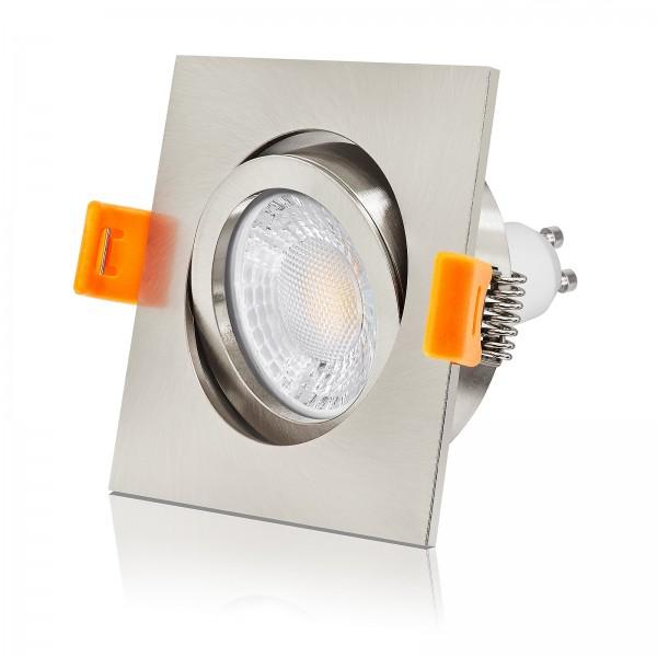 Ledox Led Einbaustrahler Set dimmbar, austauschbar und schwenkbar inkl. Forma Einbaurahmen eisen gebürstet aus Aluminium 230V 7W GU10 mit Ra>93