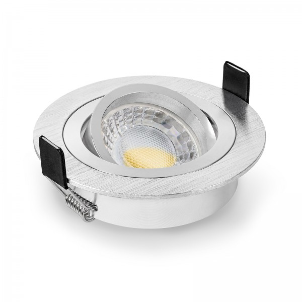 LED Einbaustrahler Set dimmbar & schwenkbar inkl. Einbaurahmen Bicolor rund gebürstet 230V 7W Modul