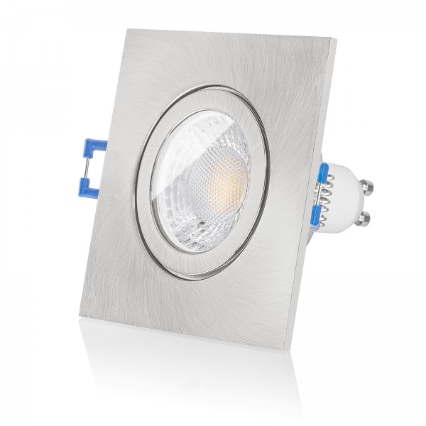 LED Bad Einbaustrahler Set IP44 dimmbar inkl. Einbaurahmen eckig quadratisch gebürstet 230V 7W GU10 mit Ra>93