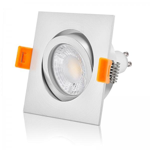 LED Einbaustrahler Set dimmbar & schwenkbar inkl. Forma EM Einbaurahmen matt 230V 7W GU10 mit Ra>93