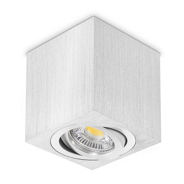 Led aufbaustrahler inkl led leuchtmittel gu10 i 230v for Deckenlampe eckig led