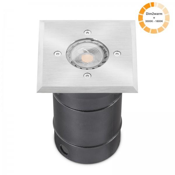 LED Bodeneinbaustrahler Set - dimmbare Farbtemperatur 1800K - 3000K & IP67 Blende Edelstahl I 230V 7W GU10