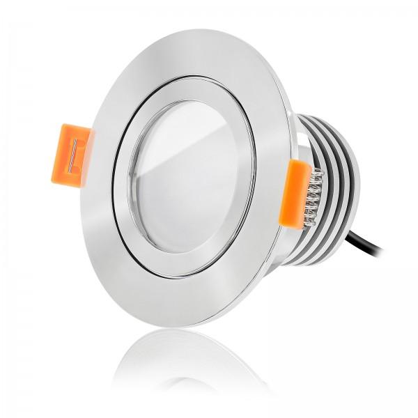Ledox LED Bad Einbaustrahler Set IP44 dimmbar inkl. Forma Aqua RP Einbaurahmen poliert 230V 10W Modul