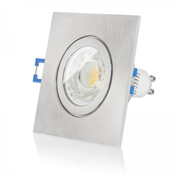 LED Bad Einbaustrahler Set IP44 dimmbar inkl. Einbaurahmen eckig quadratisch gebürstet 230V 10W GU10 3000k warmweiß