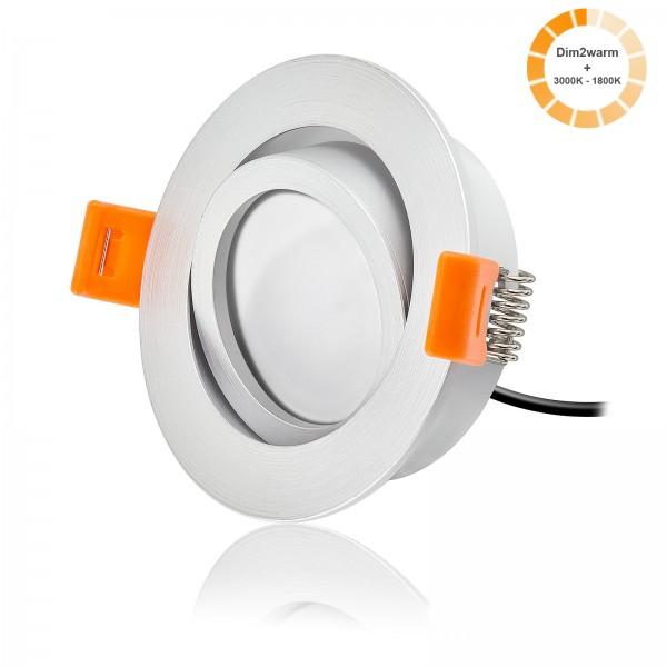 LED Einbaustrahler Set dimmbare Farbtemperatur 1800K-3000K inkl. Forma RM Einbaurahmen 230V 7W Modul extra flach