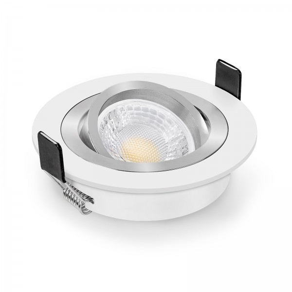 LED Einbaustrahler Set dimmbar & schwenkbar inkl. Einbaurahmen Bicolor weiß 230V 7W GU10 mit Ra>93