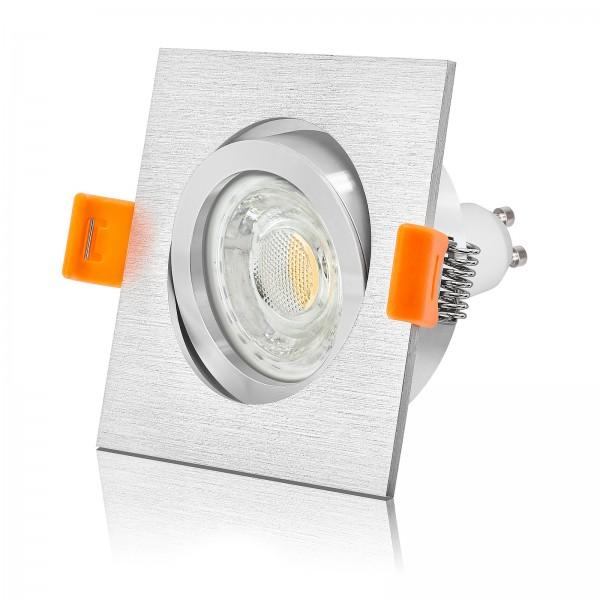 LED Einbaustrahler Set dimmbar & schwenkbar inkl. Premium Einbaurahmen gebürstet 230V 10W GU10 3000k