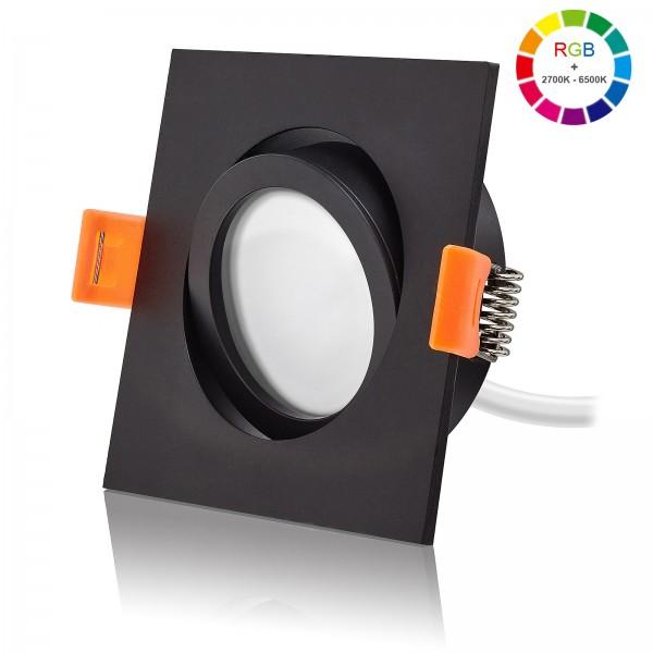 LED Einbaustrahler Set dimmbar & schwenkbar inkl. Forma ES Einbaurahmen schwarz 230V 11W Modul RGB + 2700K