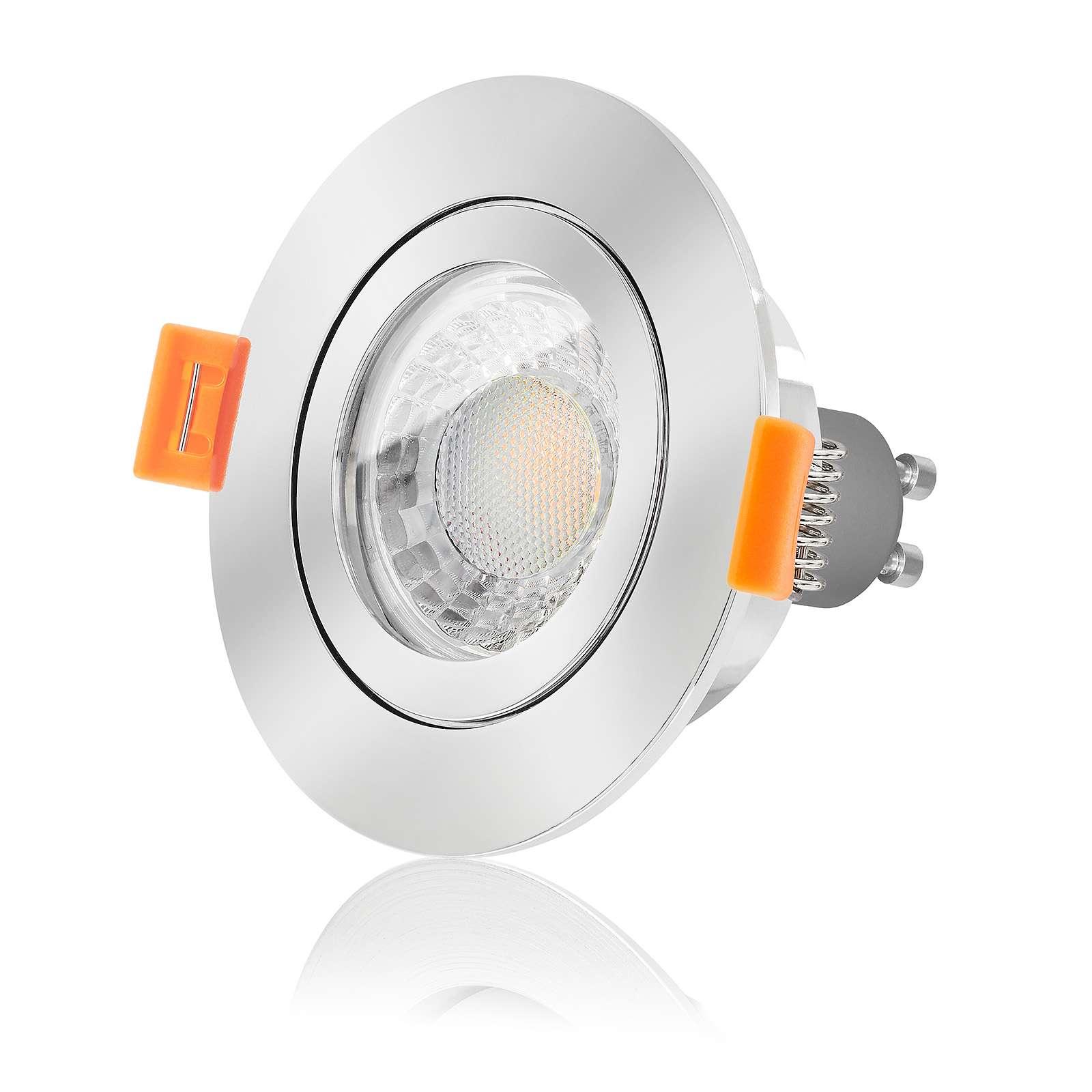 7W LED warmweiß GU10 230V DIMMBAR LED-Einbaustrahler Echtglas Leuchte rund
