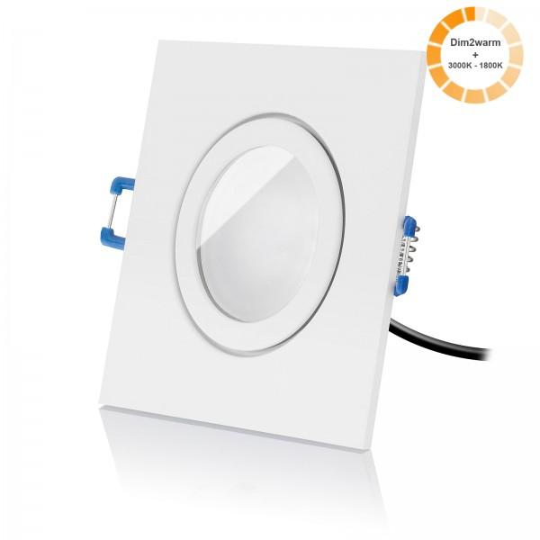 LED Bad Einbaustrahler Set dimmbare Lichtfarbe 1800K-3000K inkl. Einbaurahmen weiß 230V 7W Modul