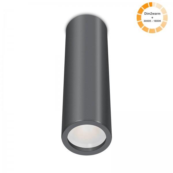 Tube Pure Aufbauleuchte anthrazit Aluminium 24cm 230V 7W dimmbare Lichtfarbe 120° - Abstrahlung 95 CRI