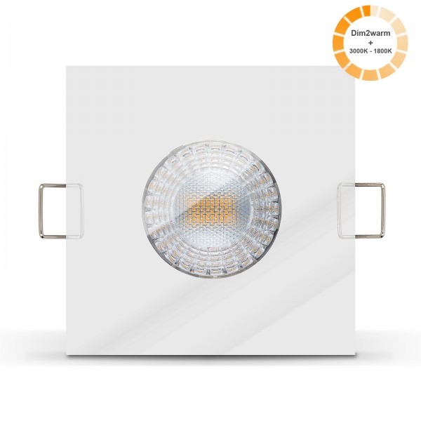 LED Bad Einbauleuchte Set IP65 dimmbare steuerbare Farbtemperatur 1800K-3000K Einbaurahmen chrom 230V 7W