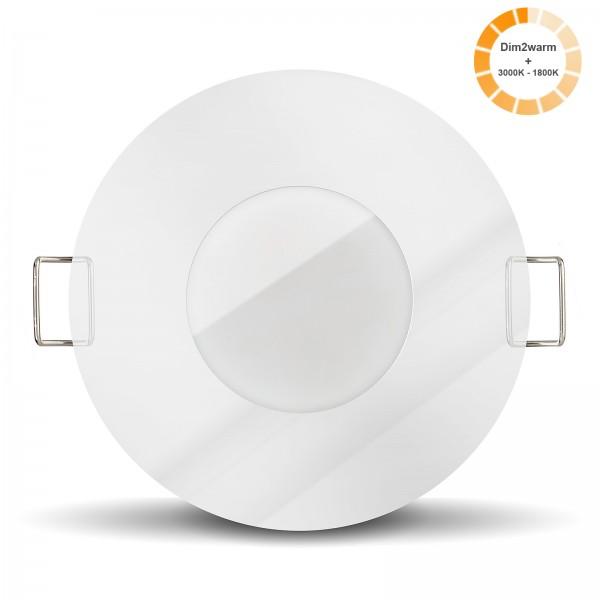 Bad LED Einbaustrahler chrom Set Modul 1800k - 3000K I 230V nur 30mm flach dimmbar 7W statt 70W Spot