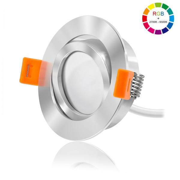 Led Premium Einbaustrahler Set dimmbar & schwenkbar inkl. Forma RC Einbaurahmen und Led Leuchtmittel Modul RGB + 2700k - 6500K