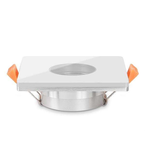 LISTA VIDRIO Bad Einbaustrahler IP44 Echtglas Einbaurahmen weiß eckig 68mm Lochausschnitt