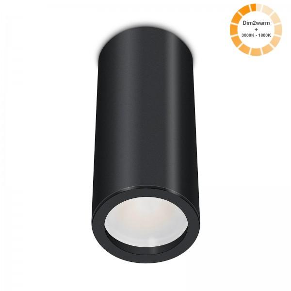 Tube Pure Aufbauleuchte schwarz Aluminium 17cm 230V 7W dimmbare Lichtfarbe 120° - Abstrahlung 95 CRI