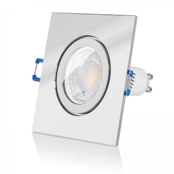 LED Bad Einbaustrahler IP44 Set Aluminium Chrom eckig Lochausschnitt 57mm 230V 7W GU10 mit Ra>93