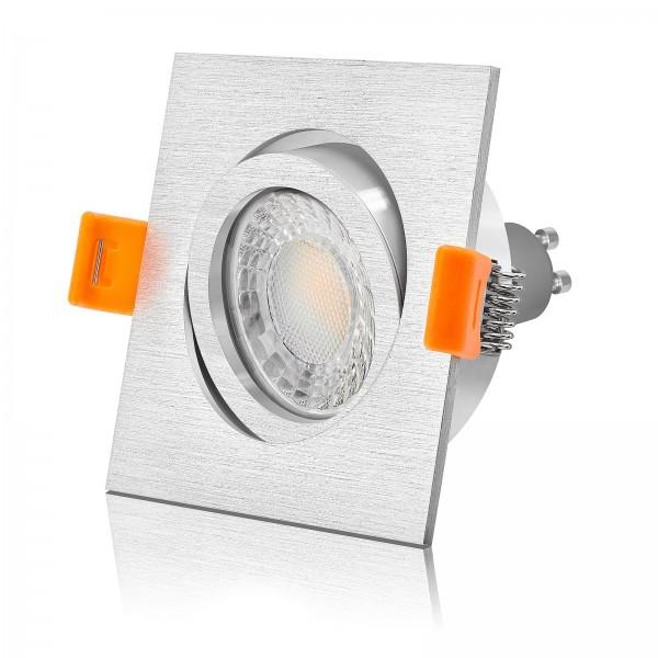 4260404788492 Ledox Led Set Einbaustrahler eckig Alu 68mm 3000K warmweiß 7W Deckenstrahler Deckenlampe Deckenleuchte Einbauspot