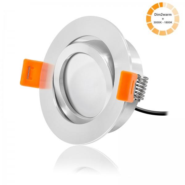 LED Einbaustrahler Set dimmbare Farbtemperatur 1800K-3000K inkl. Premium Einbaurahmen 230V 7W Modul dim2warm